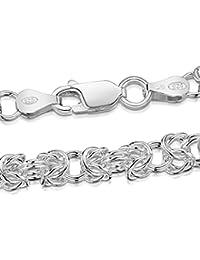 Amberta® Joyería - Collar - Fina Plata De Ley 925 - Cadena de Bizantino - 4.7 mm - 45 60 cm (60cm)