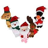 WOVTE Children Kids Educational Story Christmas Santa Claus Deers Snowman Finger Puppet Hand Toys Storytelling Doll Set of 5