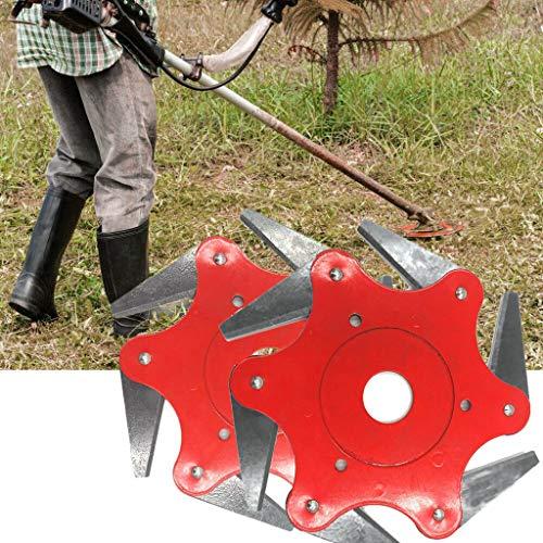 ToDIDAF 2 Stück Kopf für Rasentrimmer Rasierer mit Grasstahlklingen Trimmerkopf 6 Stahlklingen-Rasierer 65Mn Trimmerkopfschneider für Rasenmäher Gras Freischneidekopf für Fadentrimmer Gartenwerkzeug - Mini-rasenmäher