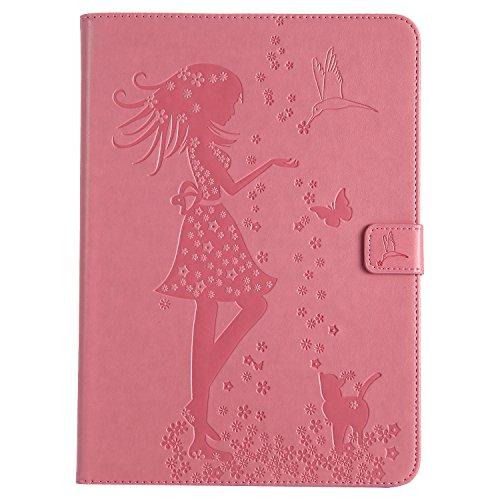 iPad Air 2 Hülle, BONROY Ultra Slim Cover Schutzhülle Etui Tasche für Apple iPad Air 2 / iPad 6, Mädchen und Katze Muster Retro PU Lederhülle Bumper mit Standfunktion / (Gorilla Kostüm Katze)