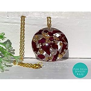 Ruby Rose II - 14K Blattgold Harz Halskette mit echten Rosenblättern, handgemachter botanischer Schmuck, einzigartiges Weihnachtsgeschenk für sie - 89GT