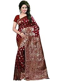 Holyday Women's Tassar Silk Silk Self Design Saree, Maroon (Banarasi_Beauty_Maroon)