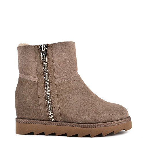 Ash Footwear Yang Taupe Shearling Wedge Ankle Boot 39EU/6UK Taupe