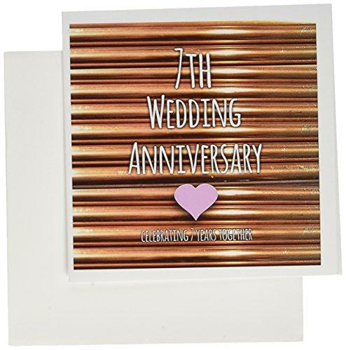 3drose 7. Hochzeitstag Geschenk–Kupfer 7Jahre together- Seventh anniversaries- Grußkarten, 15,2x 15,2cm, Set 6(GC 154436_ 1)