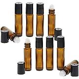 Braunglas Deostick 10ml, Kosmetex leere Roll-on-Flasche mit Deo-Roller zum Selbst befüllen, 10 Stück