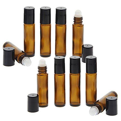 Braunglas Deostick 10ml, Kosmetex leere Roll-on-Flasche mit Deo-Roller zum Selbst befüllen, 10 Stück (Stuck Abdichten)