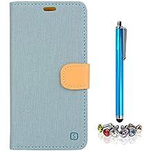 A9H Meizu M2 Note (Meilan Note 2) Funda Protectiva Carcasa Cuero Resistente Cierre Magnético,carcasa en folio, soporte plegable,ranuras para tarjetas-light blue