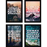 FATMUG Framed Dreams Wall Paintings Life Quotes for Office Decor and Home with Glass (Synthetic, Multicolour) - Set of 4