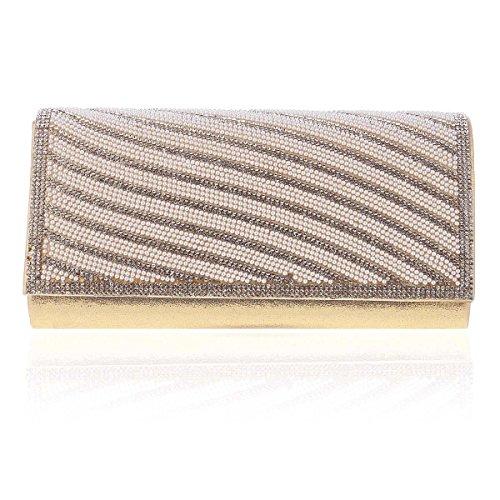 Damara® Damen Glanz Schief Streifen KristalleGroße Abend Unterarmtaschen,Gold (Schiefe Streifen)