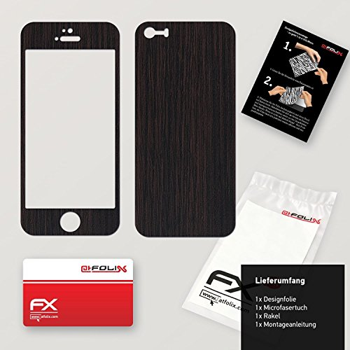 "Skin Apple iPhone 5S / SE ""FX-Brushed-Black"" Designfolie Sticker FX-Wood-Dark-Wenge"