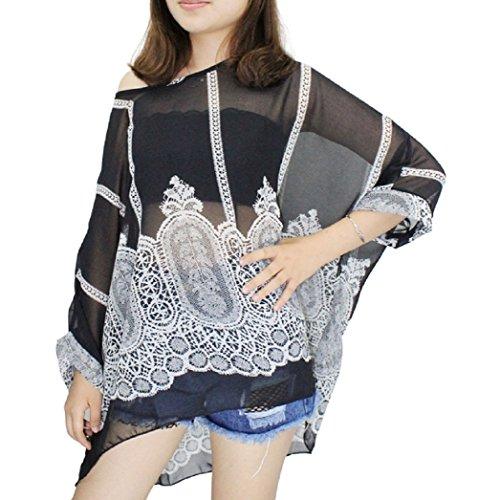 Blumen Oberteil Damen Sommer - Dizoe Damenbluse Chiffon Bluse Strand Poncho Boho Fledermausärmel T Shirt Chiffon C3