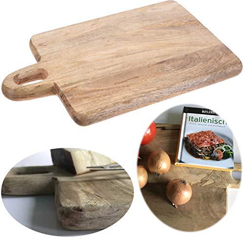 LS-Design Mango-Holz Schneidebrett 38cm Vesperbrett Tranchierbrett Griff Massiv
