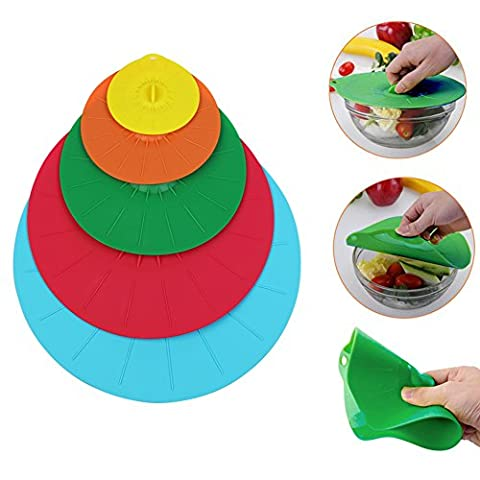 Set of 5 Microwave Food Covers,Silicone Lids 4, 6, 8, 10, 12 inch for your Bowls, Cups, Pots, Pans and Skillets
