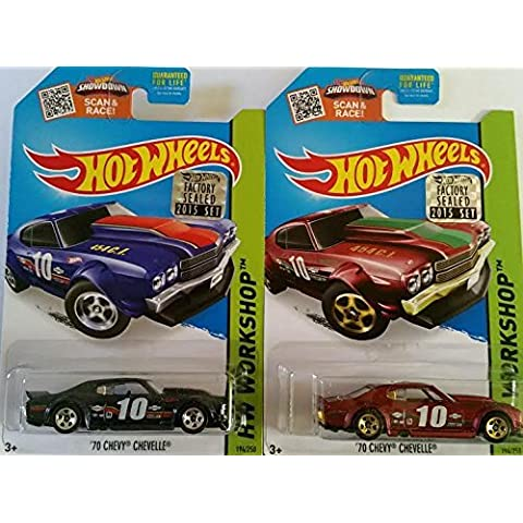 2015 Hot Wheels Factory Sealed Set Exclusive Hw Workshop - '70 Chevy Chevelle (Dark Blue & Red) Complete Set of 2! by Mattel - 70 Chevy Chevelle