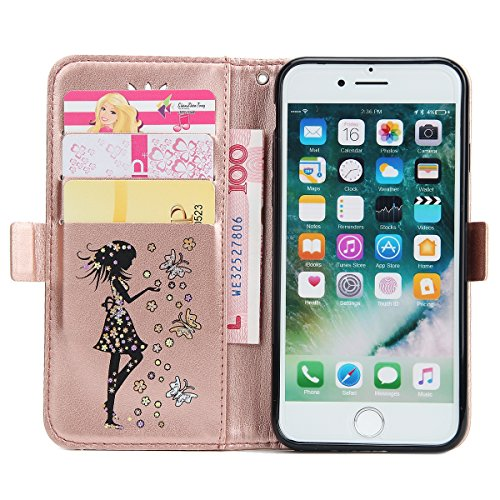 iPhone 7 Coque Dragonne Portefeuille PU Cuir Etui,iPhone 7 Coque Ultra Fine,iPhone 7 Etui Cuir Folio Housse PU Leather Case Wallet Flip Protective Cover Etui [PU Cuir et TPU Silicone Inner Case] Porte Fille Rose Or