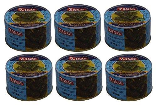 6x griechische Weinblätter gefüllt mit Reis Spar Set 6 Dosen je 370g Fertiggericht Zanae aus...