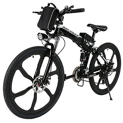 Ancheer Faltbares E-Bike, 26 Zoll Elektrofahrrad 36V 250W Elektrisches Mountainbike mit Super leichte Magnesiumlegierung 6 Speichen Integrierte Räder, Premium Volle Suspension und Shimano Zahnrad