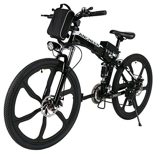 Ancheer Elektrofahrrad 26 Zoll Faltbares Mountainbike, E-Bike mit Super leichte Magnesiumlegierung 6 Speichen Integrierte Räder, Große Kapazität Lithium-Akku und Ladegerät, Premium Volle Suspension und Shimano Zahnrad
