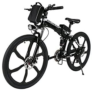 ANCHEER Electric Mountain Bike, 26 Inch Folding E-bike with Super Lightweight Magnesium Alloy 6 Spokes Integrated Wheel, Premium Full Suspension and Shimano 21 Speed Gear (Folding-Black, Medium)