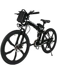 Ancheer Faltbares E-Bike, Elektrofahrrad Klapprad 250W Mountainbike, Große Kapazität Pedelec mit 36V Lithium-Akku und Ladegerät Schwarz (14 inch/ 20 inch/26 inch)