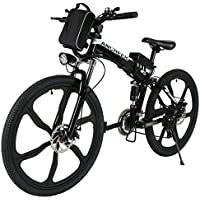 ANCHEER Electic Mountain Bike, 26 inch Folding E-bike Citybike Roadbike with 36V 250W Large Capacity Lithium-Ion Battery and Battery Charger, Premium Full Suspension and Shimano Gear