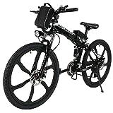 Ancheer Faltbares E-Bike, Elektrofahrrad Klapprad 250W Mountainbike, Große Kapazität Pedelec mit 36V Lithium-Akku und Ladegerät Schwarz (14 inch/ 20 inch/26 inch) (26'' schwarz + faltbar-2)