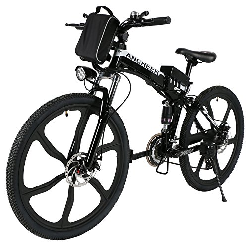 ANCHEER Elektrofahrrad Faltbares E-Bike, Klapprad mit 250W Hochgeschwindigkeits-Bürstenlose Motor, 36V Große Kapazität Lithium-Akku und Shimano Zahnrad Schwarz (14 inch/ 20 inch/26 inch) (26'' Schwarz&Weiß + faltbar (Sechs Messer-Rad))