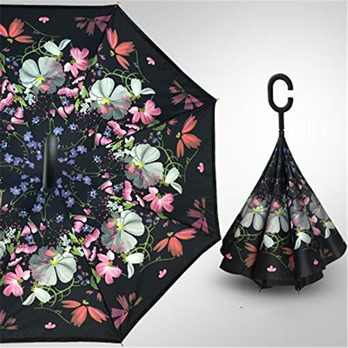 YuYa Sonnenschirm Umgekehrter Regenschirm doppelter stehender C-Typ freier Langer Handgriffregenschirmschirm A10 110CM des Autos