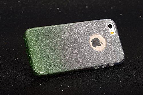 Etsue für iPhone 6S/iPhone 6 Transparent Weiche Silikon Schutzhülle, Ultradünnen Crystal Clear Transparent Zurück Etui Kratzfeste TPU Bumper Case Handyhülle für iPhone 6S/iPhone 6 + 1x Glitzer Staub S Gradient,Grün