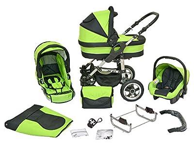 Kombi Kinderwagen X6 - 3 in 1 - Kombikinderwagen Buggy saftiges grün-schwarz