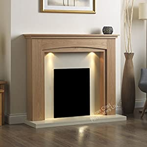 Electric Oak Surround Cream Ivory Modern Freestanding Wall Fire Fireplace Suite Lights Downlights 48""
