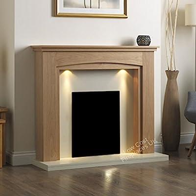 "Electric Oak Surround Cream Ivory Modern Freestanding Wall Fire Fireplace Suite Lights Downlights 48"""
