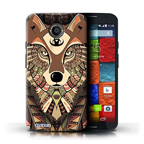 Kobalt® Imprimé Etui / Coque pour Motorola Moto X (2014) / Tigre-Rouge conception / Série Motif Animaux Aztec Loup-Sépia
