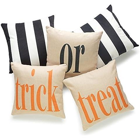 hofdeco Set di 5pcs Decorative Throw Pillow Case Dolcetto o scherzetto di Halloween nero a righe Pesante tessuto in velluto e cotone lino Copricuscino 45,7x 45,7cm