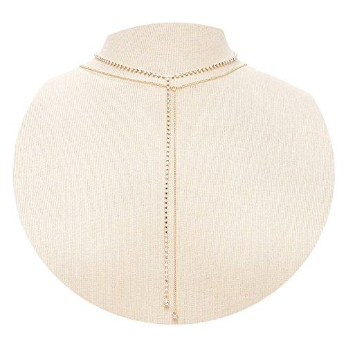 (KnBoB Halsketten Für Frauen Multilayer Kette Gold Kette mit Zirkonia Halsketten Verlängerung)