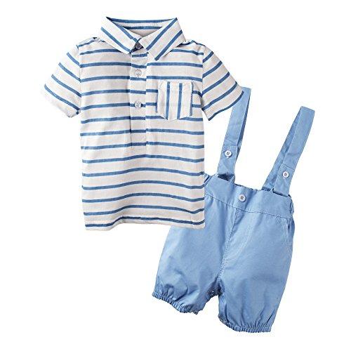 BIG ELEPHANT Baby Jungen 2 Stück T-Shirt Hosenträger Shorts Bekleidung Set Blue J67