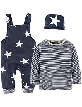 BIG ELEPHANT 3 Stück Baby Jungen Langarm Shirt Overalls Kleidung Set mit Hut H92