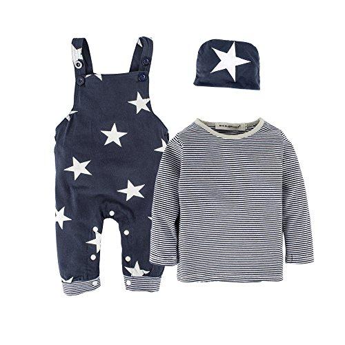 Big Elefant 3 Stück Baby Jungen Langarm-Overalls Kleidung Set Mit Hut H92A, Dunkelblau - 12-18 Monate (90)