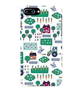 KIDDISH PATTERN OF HUTS AND TRUCKS IN A WHITE BACKGROUND 3D Hard Polycarbonate Designer Back Case Cover for Apple iPhone 7 Plus