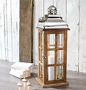 Candle Lantern Wood Extra Tall - Decorative Garden Wedding - Indoor Outdoor - 70 cm H