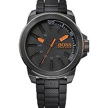 Hugo Boss  New York - Reloj de cuarzo para hombre, con correa de silicona, color negro