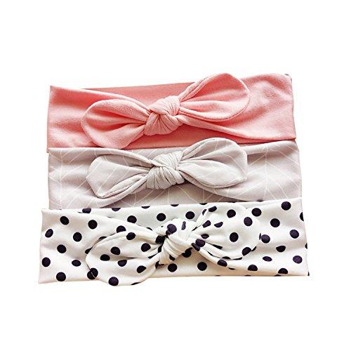JMITHA 3 Stück Baby Stirnbänder Baby Mädchen Kids Turban Haarband Stirnband Kopfband Baby schmuck Babyschmuck Babygeschenke & Taufe (mit Geschenktüte, 05)