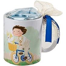 Mopec Niño Comunión Taza en Bici con Caja Regalo con Caramelos, Porcelana, Blanco y