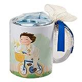 Mopec Niño Comunión Taza en Bici con Caja Regalo con Caramelos, Porcelana, Blanco y Amarillo, 8,2 x 8,2 x 9,5 cm