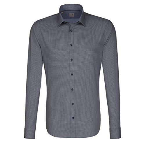 SEIDENSTICKER Herren Hemd Tailored 1/1-Arm Bügelleicht City-Hemd Kent-Kragen Kombimanschette weitenverstellbar blau (0015)