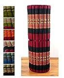 Kapok Liegematte der Marke Asia Wohnstudio, 200cm x 110cm x 4,5cm; Rollmatte bzw. Yogamatte, Thaimatte, Thaikissen als asiatische Rollmatratze (rot / Elefanten)