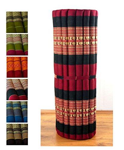 Asia Wohnstudio Kapok Liegematte der Marke, 200cm x 110cm x 4,5cm; Rollmatte bzw. Yogamatte, Thaimatte, Thaikissen als asiatische Rollmatratze (rot/Elefanten)