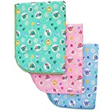 PIKIPOO Soft Plastic and Cotton Waterproof Nappy Changing Mat Bedding, 0-6 Months (Multicolour) - Set of 3