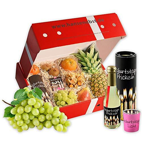 Obstbox Herzlichen Glückwunsch als Geschenkset mit frischem Obst, Sekt und Windlicht in klassischer Geschenkbox