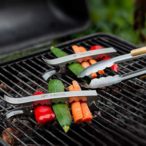 519qIFzbyyL - MS-Tec Grill Zangen Set - Premium Gemüse Grillzange - Edelstahl - Grillzubehör - 4 Stück